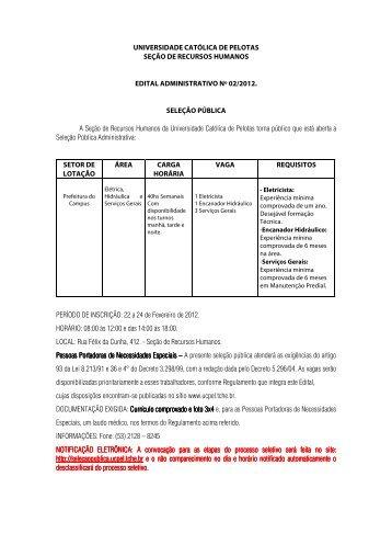 Edital nº 02/2012 - Universidade Católica de Pelotas