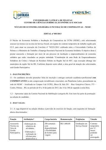 EDITAL nº 003/2013 - Universidade Católica de Pelotas