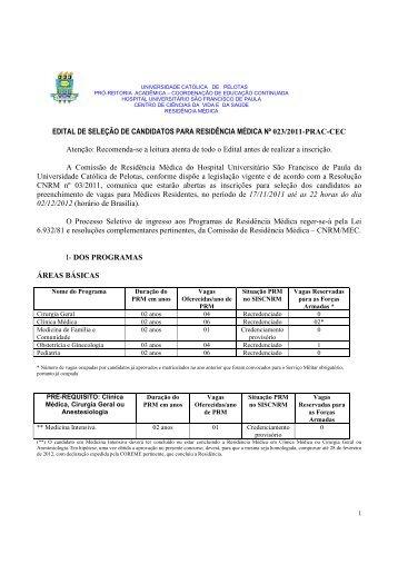Edital de Seleção 023/2011 - Residência Médica - Universidade ...