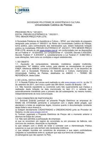 Edital nº 002/2011 - Universidade Católica de Pelotas