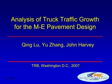 Analysis of Truck Traffic Growth for the M-E Pavement Design