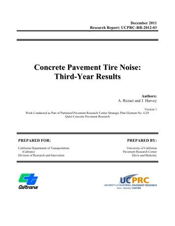 Concrete Pavement Tire Noise: Third-Year Results - University of ...