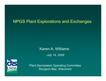 NPGS Plant Explorations and Exchanges, Karen Williams