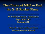 The Choice of NH3 to Fuel the X-15 Rocket Plane
