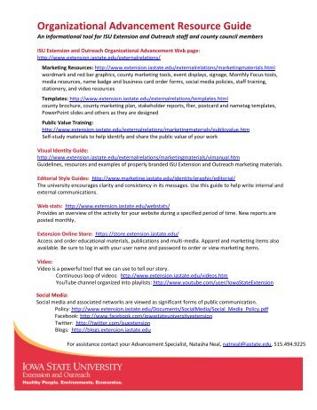 Organizational Advancement Resource Guide - Iowa State University