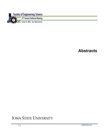 Abstracts - Conference Planning and Management - Iowa State ...