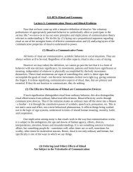 S/A 4074: Ritual and Ceremony Lecture 3: Communication Theory ...