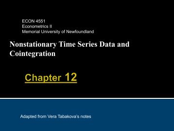 Nonstationary Time Series Data and Cointegration - Memorial ...