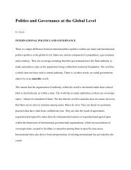Politics and Governance at the Global Level