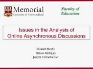 Issues in the content analysis of online discussions - Memorial ...