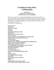 Canadian Foreign Policy: A bibliography - Memorial University of ...