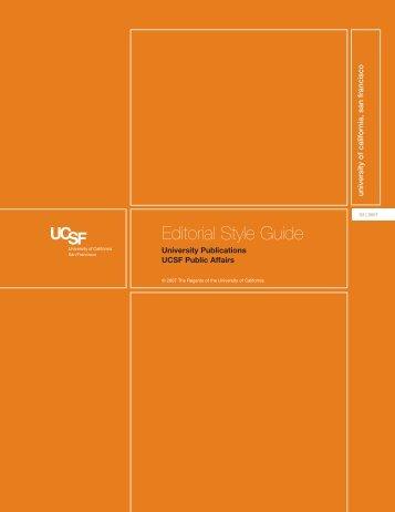 Editorial Style Guide - University of California, San Francisco