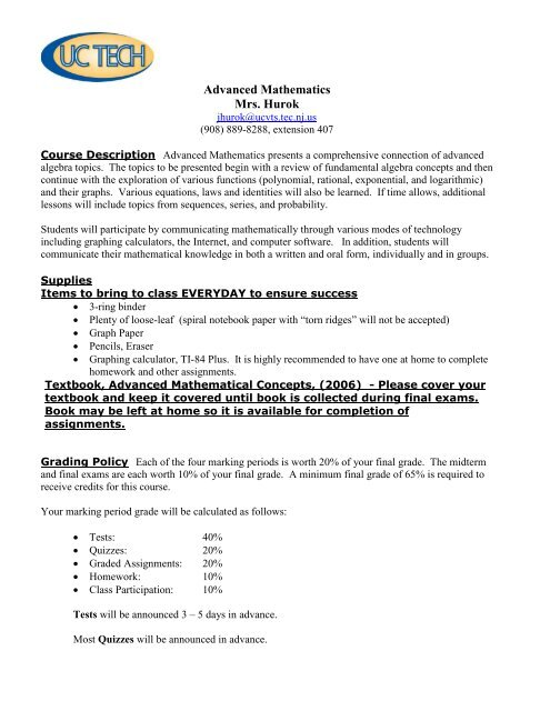 Course Syllabus & Class Policies - Union County Vocational