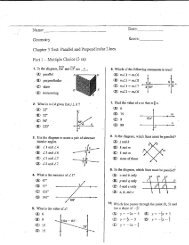 Chapter 3 Test: Parallel and Perpendicular Lines