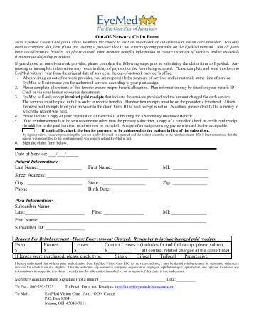eyemed out-of-network claim form