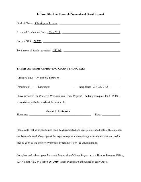 udayton thesis proposal