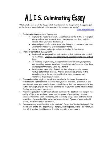 Formal literary essay outline