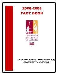 2005-2006 FACT BOOK - University of the District of Columbia