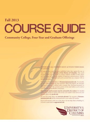 Course Guide PDF - University of the District of Columbia