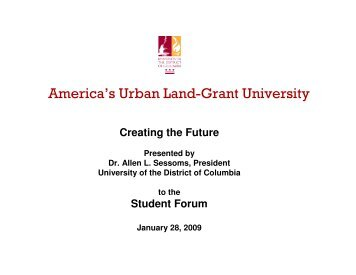 Student Forum Presentation - University of the District of Columbia