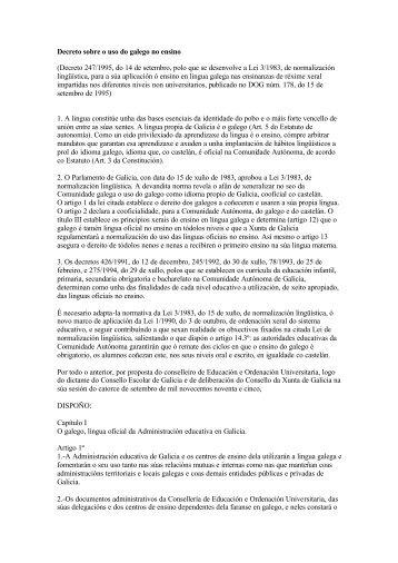 Decreto sobre o uso do galego no ensino (Decreto 247/1995, do 14 ...