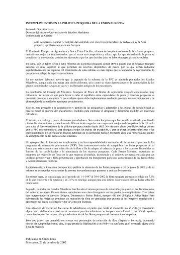 Incumplimientos de la Política Pesquera de la UE - Universidade da ...
