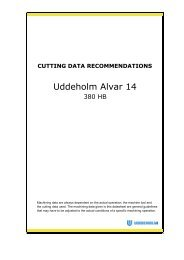 Cutting data recommendations - Uddeholm