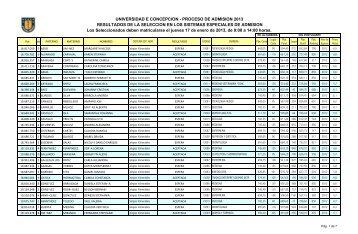 UNIVERSIDAD E CONCEPCION - PROCESO DE ADMISION 2013 ...