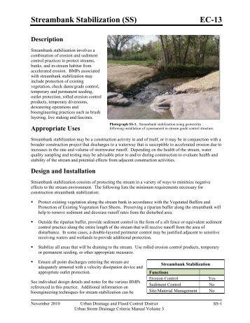 Streambank Stabilization - Urban Drainage and Flood Control District