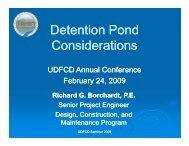 UDFCD 2009 Seminar Detention Pond Considerations
