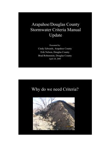 Arapahoe/Douglas County Stormwater Criteria Manual Update Why ...