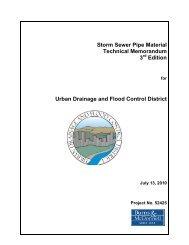 UDFCD Storm Sewer Pipe Material Technical Memorandum 2010