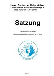 Download Satzung - Union Deutscher Heilpraktiker