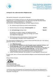 Informationen und Antrag zur außerordentlichen Mitgliedschaft