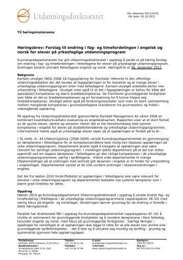 Høringsbrev: Forslag til endring i fag- og timefordelingen i ... - Udir.no
