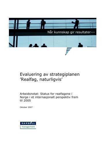 Evaluering av strategiplanen 'Realfag, naturligvis' - Udir.no