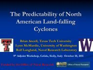 The predictability of North American land-falling cyclones