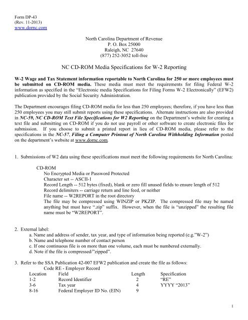 w2 form nc  NC CD-ROM Media Specifications for W-8 Reporting