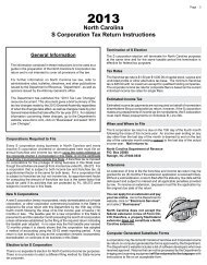 North Carolina S-Corporation Income Tax Forms and
