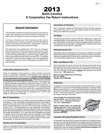 North Carolina S Corporation Tax Return Instructions