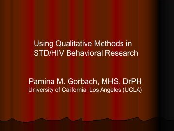 How is Qualitative Research Used? (HealthCom/AED ... - TREE