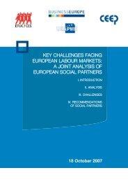 Key challenges facing European labour markets: a joint ... - UEAPME
