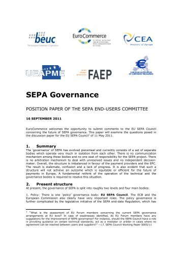 position paper on SEPA governance - UEAPME