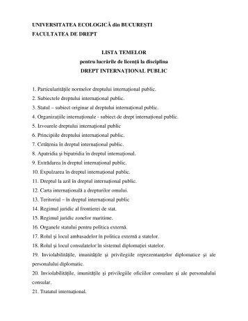 Teme licenta - Drept international public-Prof. univ. dr. Ion SUCEAVA