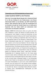 Pressemitteilung Schlüsselübergabe GOP Varieté-Theater Bremen