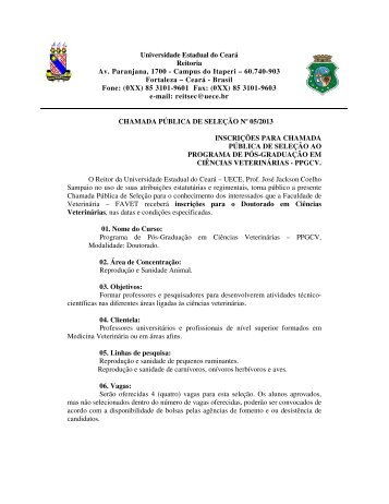 Campus do Itaperi – 60.740-903 Fortaleza – Ceará - Brasil Fo - Uece