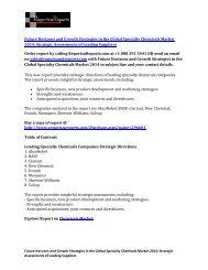 Specialty Chemicals Market 2014: AkzoNobel, BASF, Clariant, Dow Chemical, Evonik, Monsanto, Sherwin-Williams, Solvay Companies Analyzed