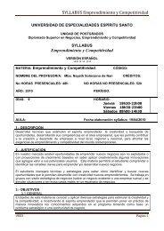 SYLLABUS Emprendimiento y Competitividad - Universidad de ...