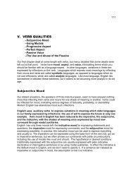 V. VERB QUALITIES - UW-Parkside: Help for Personal Homepages