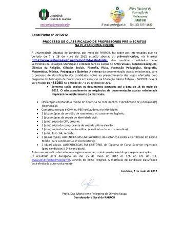 Edital Parfor 001/2012 - Universidade Estadual de Londrina